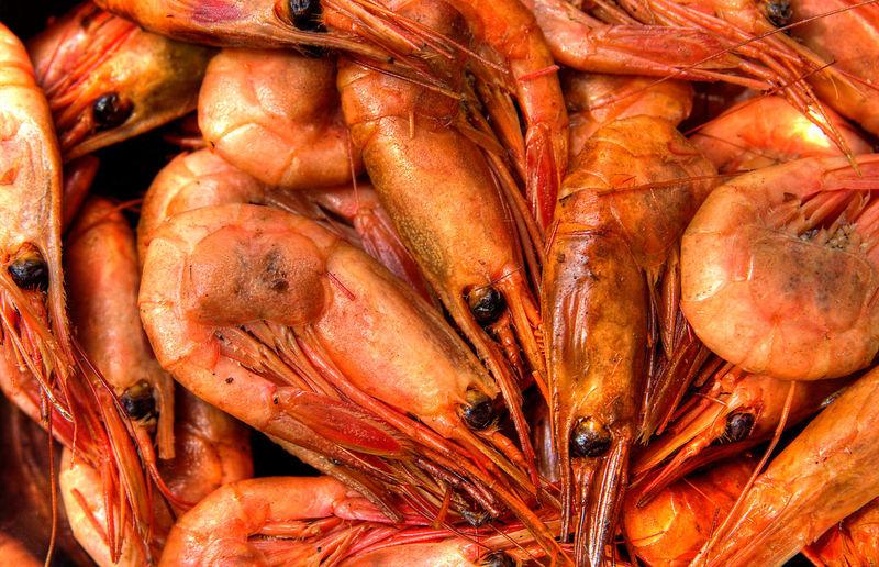 Full Frame Shot Of Shrimps At Market