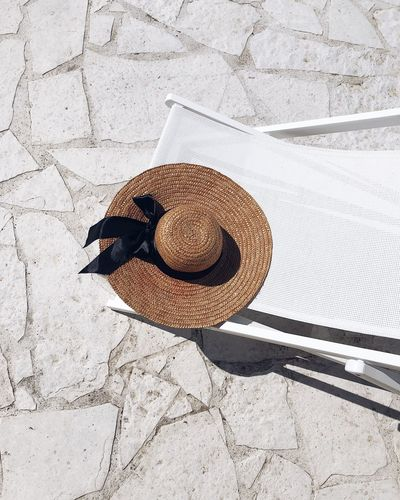 High angle view of hat on chair