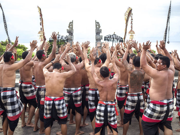 Kecak dance at Uluwatu Bali Culture Dance Ethnic INDONESIA Kecak Dance Performing Arts Tourism Traveling Uluwatu