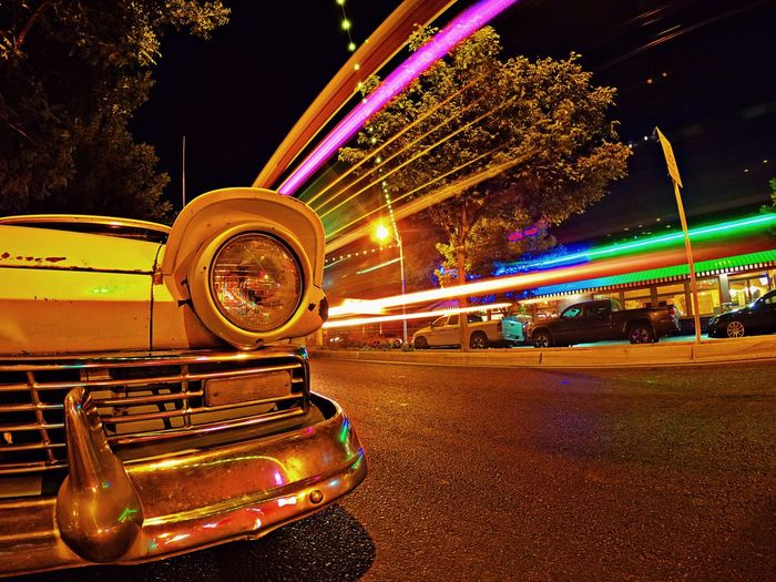 The Tower District Classic Car Fresno  Long Exposure Tower District Illuminated Night Transportation Motion Arts Culture And Entertainment First Eyeem Photo Outdoors EyeEmNewHere