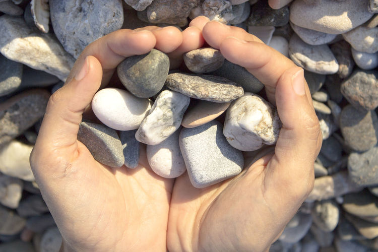 High angle view of hand holding stones