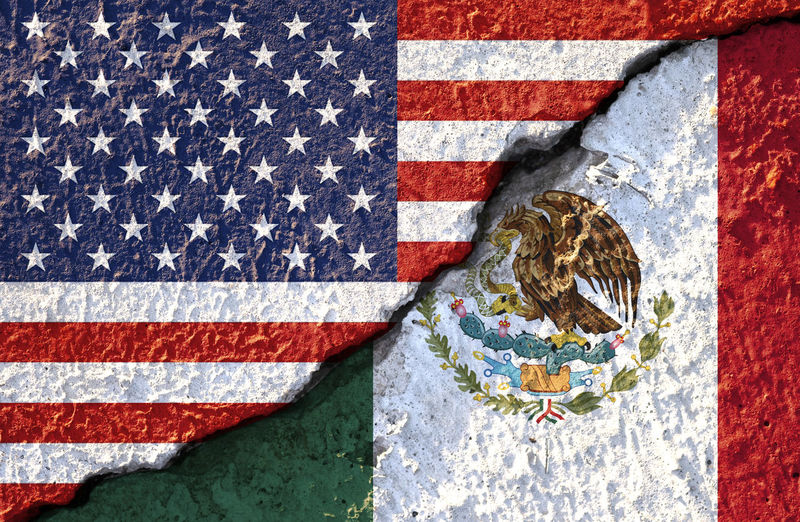 USA flag and Mexico flag on cracked wall damage. Agreement America Apart Asunder Background Banner Barricade Barriers Border Business Close Conflict Cooperation Cracked Crisis Customs Damage Dispute Drugs Economy Enforcement Flag Foreign Government Illegal Immigration Independence International Mexican Mexico Nafta National Partnership Patriot Political Region Security Sign States Symbol Tariffs Texture Trade Treaty United Us USA Versus Wall War