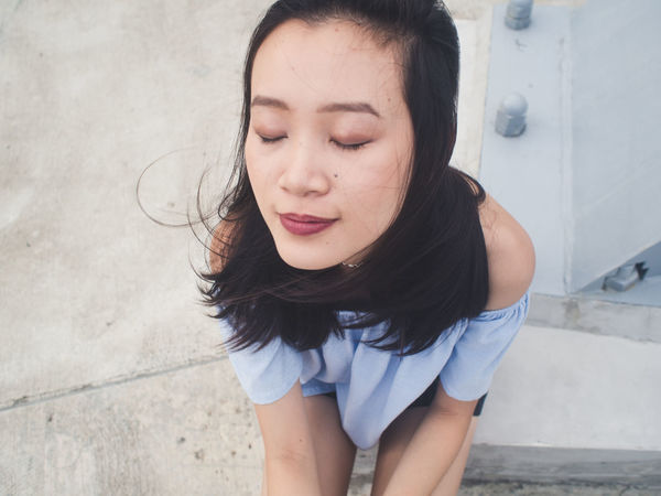 Adult Beautiful Girl Blue Close-up Closed Eyes Cute Day Editorial  Fashion High Angle View Human Lips Leisure Activity Lifestyles Outdoors Peaceful People Perspective Portrait Of A Woman Portraits Real People Woman Women Women Who Inspire You Young Adult Young Women
