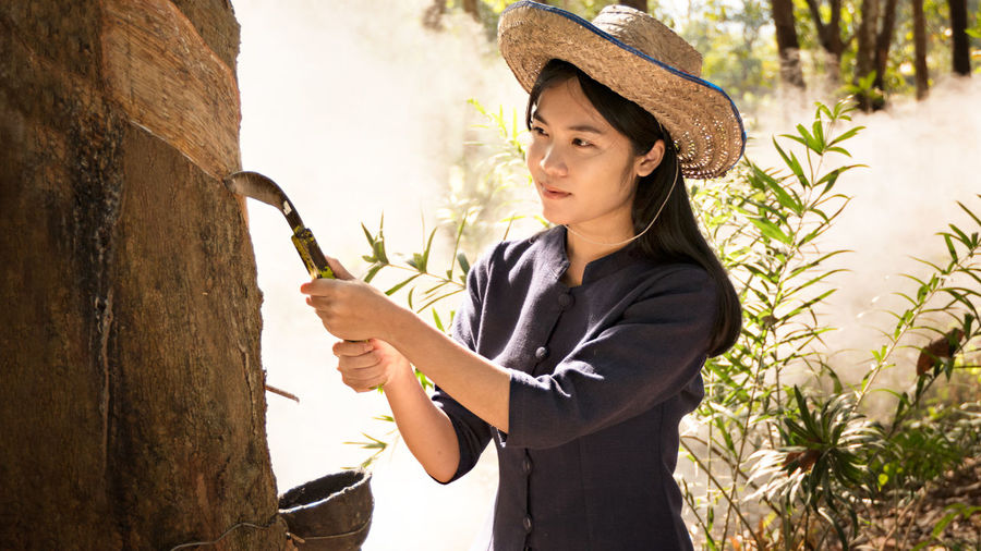 Woman collecting a latex from a rubber tree