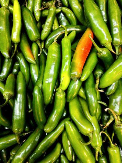 Full frame shot of green chili peppers