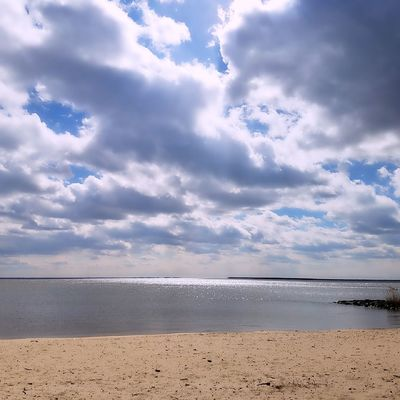 Clouds, sky with a reflection in the water sandy beach. Miami Beach Beach Sea Water Cloud - Sky Sand Tranquility Horizon Over Water Nature Day Blue Landscape Sky Outdoors Tranquil Scene Beauty In Nature Vacations Scenics Summer Travel Destinations No People