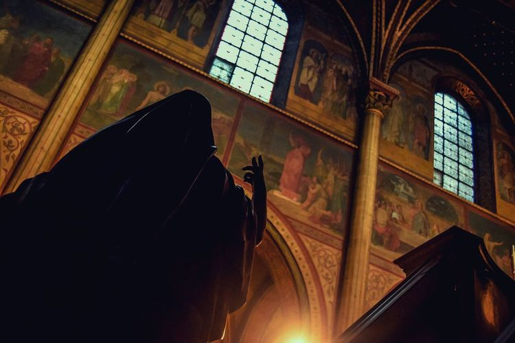 Paris cathedral Painting Column Arch Architecture Church Dark Dramatic Light And Shadow Low Angle View Sculpture Cathedral History Religious  Paris Window Indoors  Day Architecture Close-up