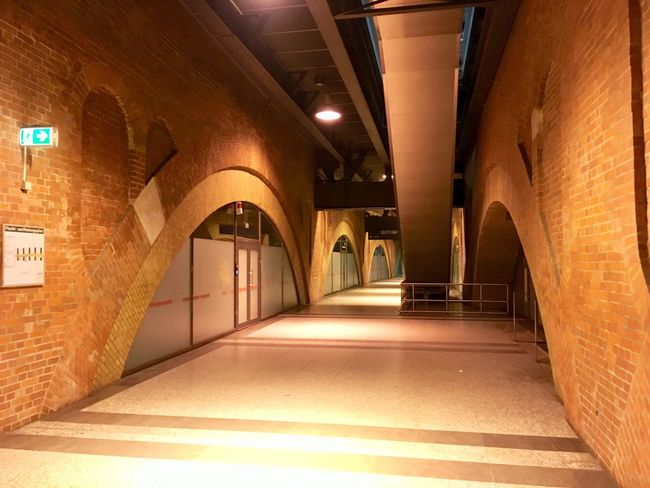 The renovated Jannowitz U-Bahnstation in Berlin. Berlin U-Bahn Railway The Way Forward Built Structure Indoors  Corridor No People
