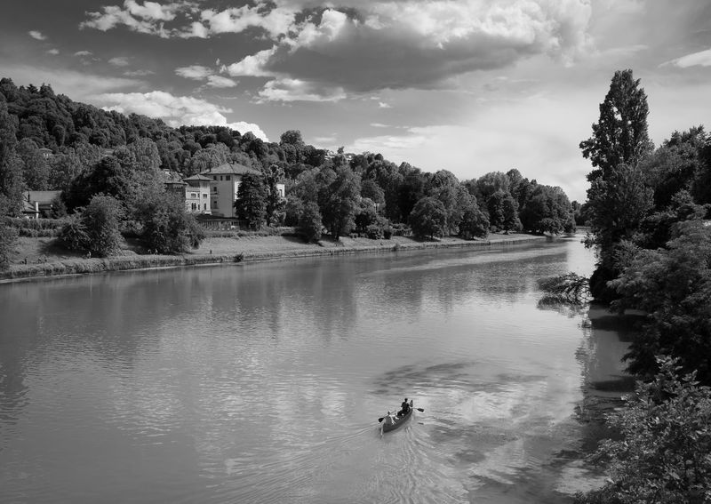 Canoe Cloud - Sky Current Paddling, River View Rowing Turin Italy Water