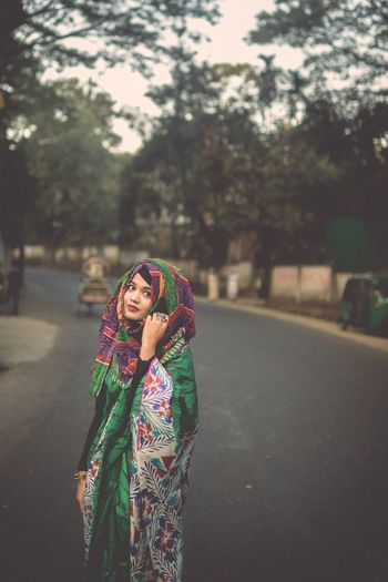 She is wierdly beautiful. One Person Woman Saree Culture Outdoors Potrait Art Looking At Camera Chittagong Bangladesh .