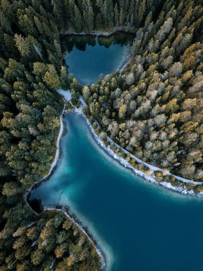 aerial view over lake eibsee in germany with huge forest and hidden lakes after sunset Autumn DJI X Eyeem Drone  Eibsee Nature The Week on EyeEm Travel Aerial Forest Germany Hidden Lake Landscape Landscapes Magic Secret Sky Sun Water Waterfront