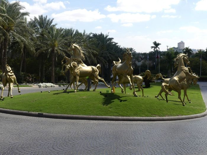 Golden Horses in the Driveway of the Palace Hotel, Dubai, United Arab Emirates 2019 Dubai UAE 2019 Palace Hotel Hotel Golden Horses Animal Representation Horses Animal Themes Blue Sky White Clouds Palm Trees Running Grass Lawn Driveway Gold Coloured Green And Gold Colour Unusual Livestock Composition Outdoor Photography Sunlight And Shadows Group Of Animals Tourist Destination Travel