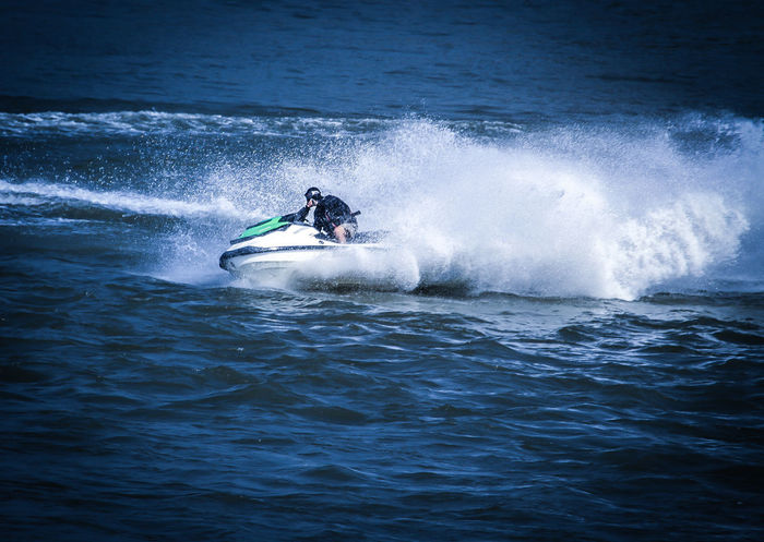 Adult Adventure Day Extreme Sports Jet Boat Jetski Jetskiing Leisure Activity Lifestyles Men Motion Nature Nautical Vessel One Man Only One Person Outdoors People Real People Sea Speed Sport Surfing Water Waterfront