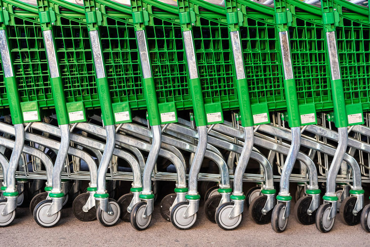 Close-up of shopping cart in row