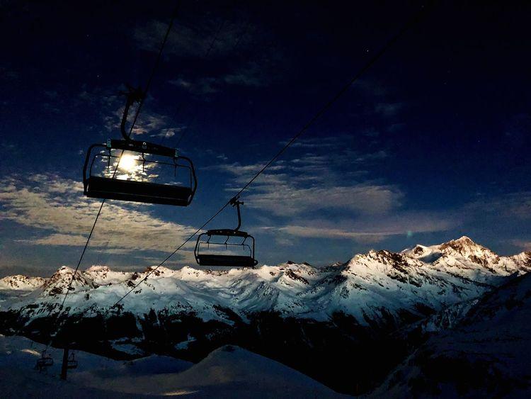 Full Moon Swiss Alps Valais Valdanniviers Grimentz Zinal Winter Snow Ski Lift The Great Outdoors - 2018 EyeEm Awards