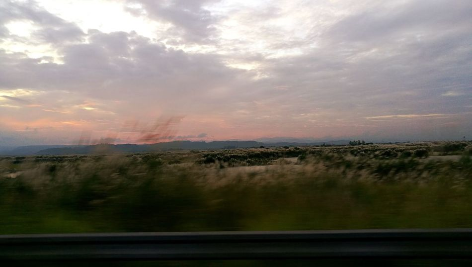 Speed Car Travel Field Road Trip Sunset Cloud - Sky Landscape No People Rural Scene Outdoors Tree