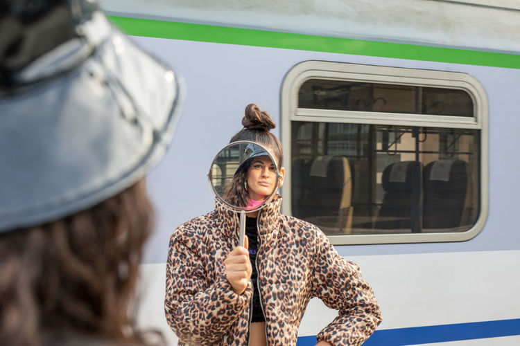 Mode Of Transportation Transportation Rail Transportation Women Public Transportation Real People Two People Train Travel Land Vehicle Train - Vehicle People Adult Young Adult Lifestyles Journey Clothing Portrait Casual Clothing Outdoors Hairstyle My Best Photo International Women's Day 2019