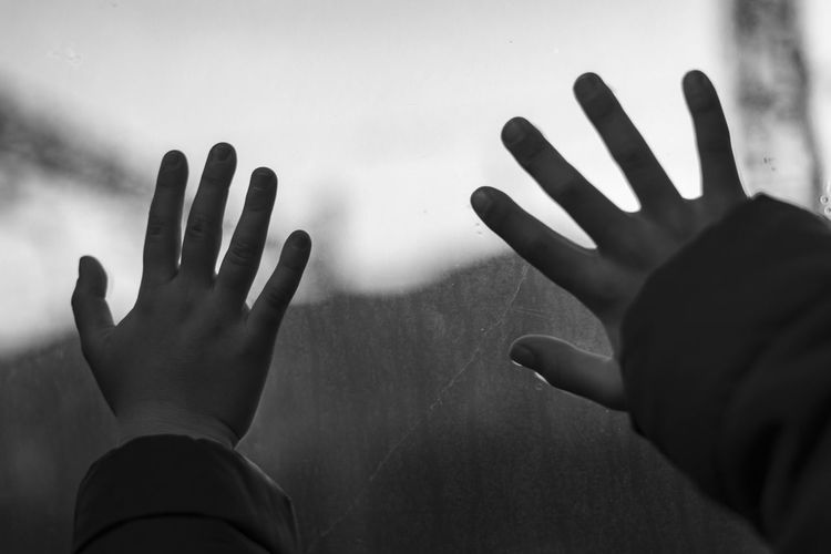 Close-up of hands touching