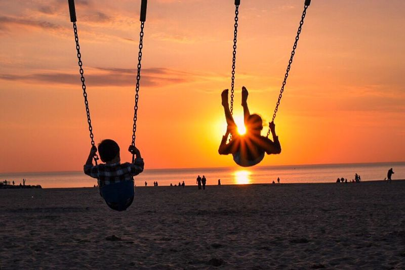 Holland Michigan Sunset On The Beach Beach Sunset Kids Swing Nature Great Outdoors With Adobe