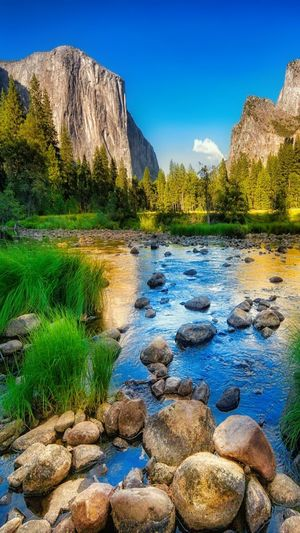 Water Tranquil Scene Scenics Tranquility Rock - Object Beauty In Nature Clear Sky Mountain Nature Tree Blue Stone - Object Non-urban Scene Stream River Green Color Flowing Travel Destinations Growth Day