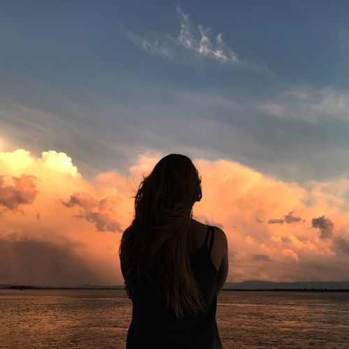 EyeEm Selects Sky Cloud - Sky Water Sea Sunset One Person Women Beauty In Nature Beach Lifestyles Horizon Over Water