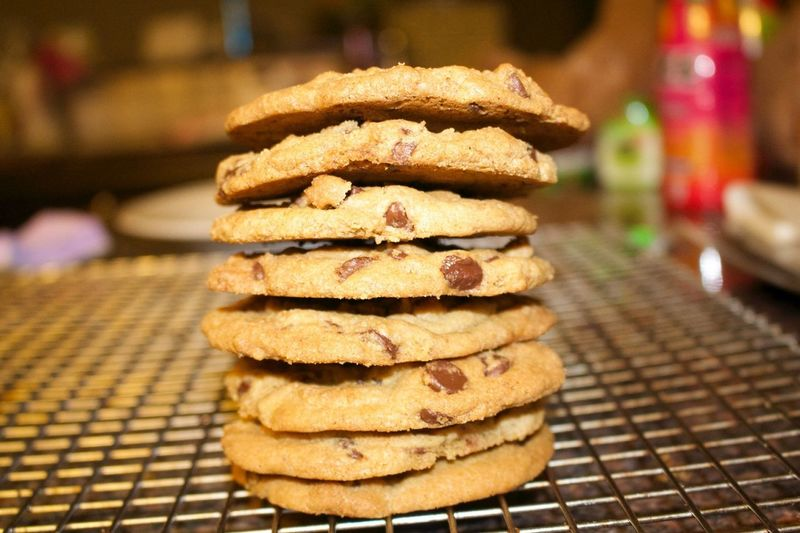 Stack of cookies on metal grate