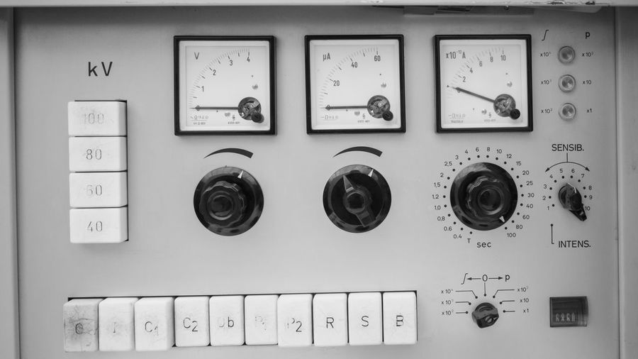 Vintage Instrument Panel Technology Control Electricity  Control Panel Text Fuel And Power Generation Equipment No People Close-up Communication Gauge Electric Meter Meter - Instrument Of Measurement Machinery Indoors  Western Script Power Supply Push Button Switch Connection Electrical Equipment Keypad Electrical Component