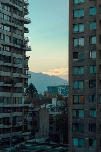 Apartment Architecture Building Exterior Built Structure City Cityscape Day Mountain Nature No People Outdoors Residential Building Santiago Sky Sunrise Sunset Travel View