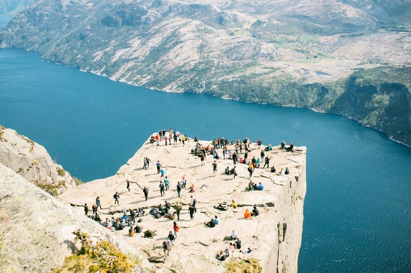 Fjord Idyllic Leisure Activity Lifestyles Medium Group Of People Mountain Pulpit Pulpit Rock Pulpitrock Rock - Object Tourism Tourist Vacations Water