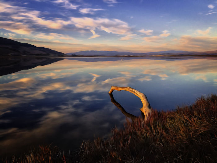 Reflection Beauty In Nature Calm Cloud Cloud - Sky Fine Art Idyllic Landscape Marin County CA Nature Non Urban Scene Non-urban Scene Orange Color Outdoors Peaceful Reflection Scenics Sky Sunset Tranquil Scene Tranquility Water Showcase July