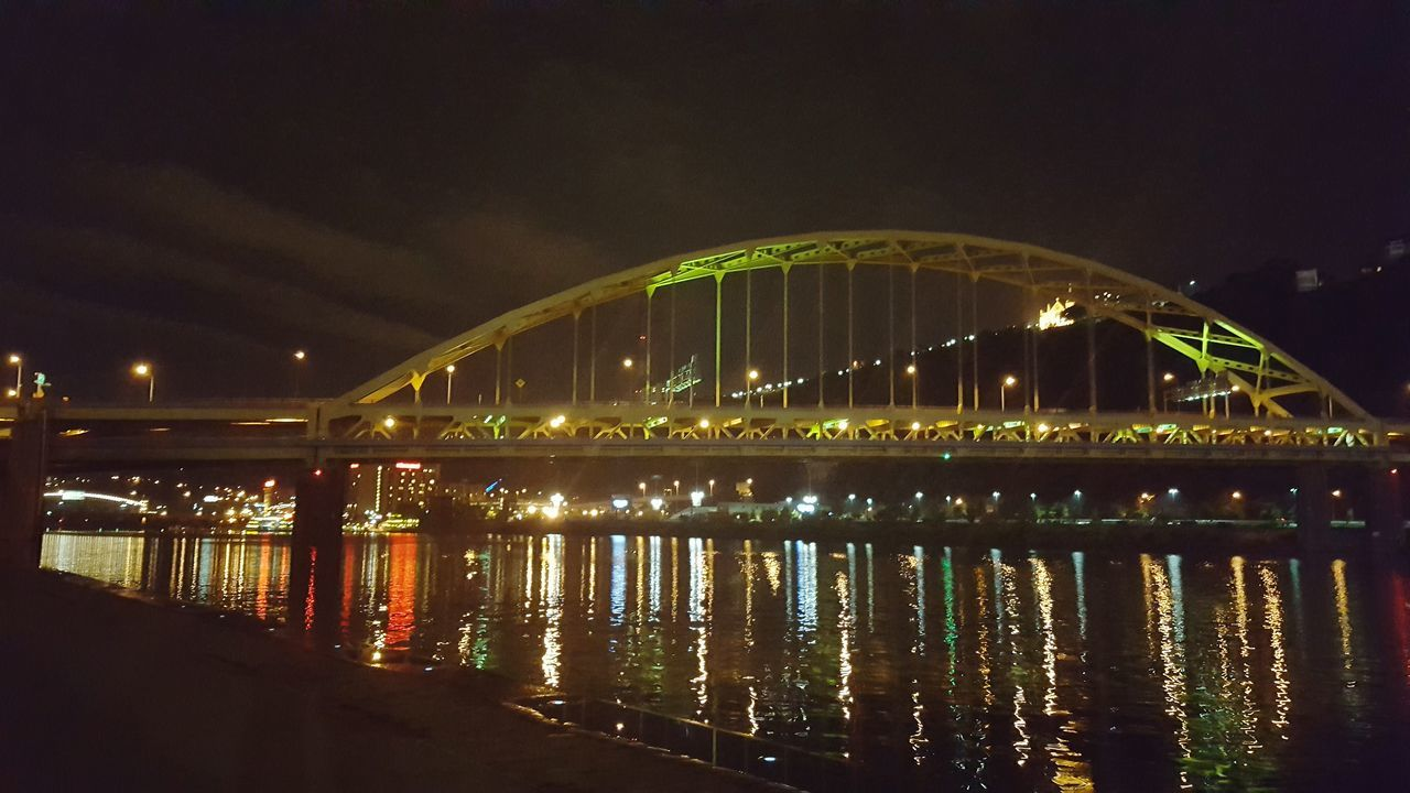 night, illuminated, bridge - man made structure, architecture, built structure, connection, water, sky, transportation, no people, river, outdoors, nature