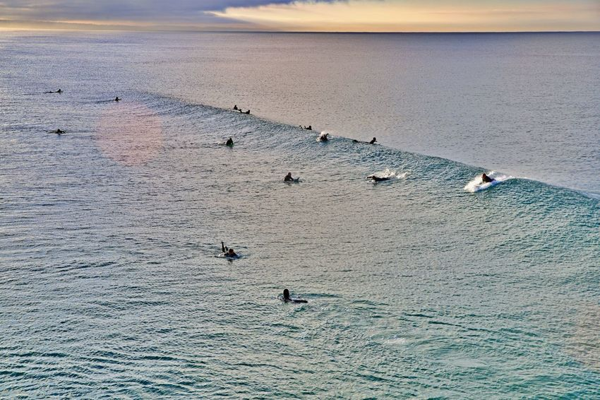 Water Sea Nature Lifestyles Adventure Swimming Sport Waiting For The Waves Outdoors Leisure Activity Day High Angle View Scenics - Nature Waterfront Surfing Early Morning