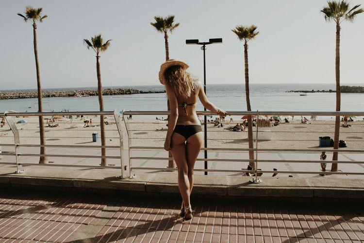 Rear View Of Sensual Woman In Bikini Standing By Railing Against Beach