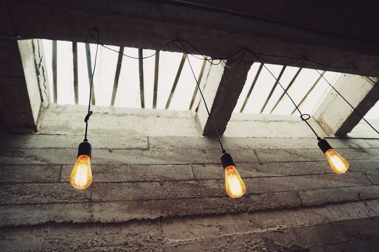 modern light and modern wall Wall Concrete Modern Architecture Plane Decoration Illuminated Hanging Light Bulb Electric Light Lighting Equipment Light Fixture Lamp Ceiling Darkroom Filament Lantern Bulb