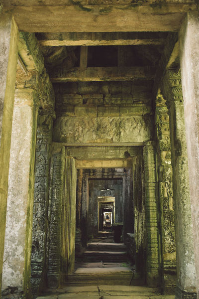 Siem Reap Cambodia Angkor Architecture Built Structure Direction The Past History The Way Forward Building No People Old Architectural Column Day Indoors  Ancient Religion Place Of Worship Arcade Belief Travel Destinations Ancient Civilization Ruined