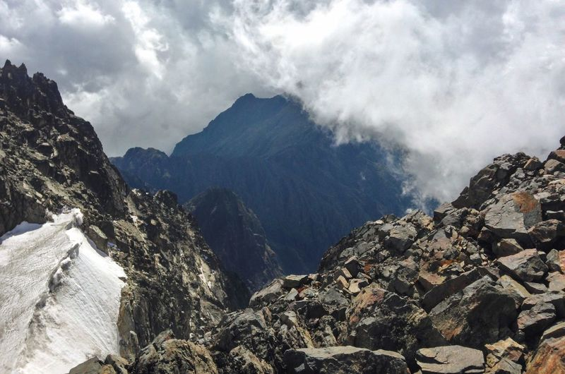 Scenic view of mountains against sky at rwenzori mountains