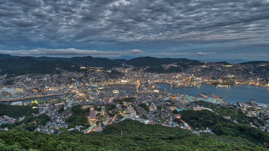 Nagasaki Japan Japan Photography Nagasaki Architecture Building Exterior Built Structure City Cityscape Cloud - Sky Day High Angle View Mountain Nature No People Outdoors Sky Town Tree
