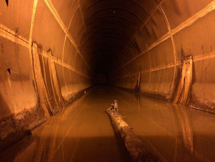 View along flooded tunnel