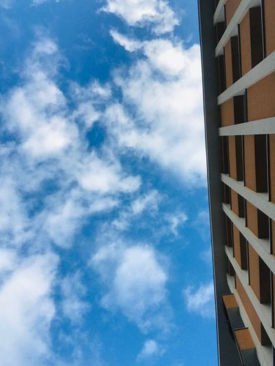 Clouds Blue Sky Blue Assymetry Sky Cloud - Sky Built Structure Architecture Low Angle View Building Exterior Building No People Blue Day Tall - High Skyscraper Autumn Mood