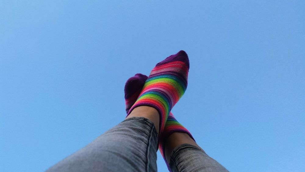 Multi Colored Blue One Person Low Section Sock Only Women Sky Human Leg Human Body Part Day People One Woman Only Adult Outdoors Adults Only Bright Colors Rainbow Colors Accesories Clothing
