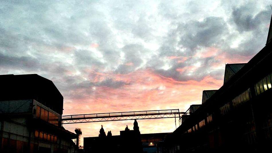 Industrial Skyline Burning Sky