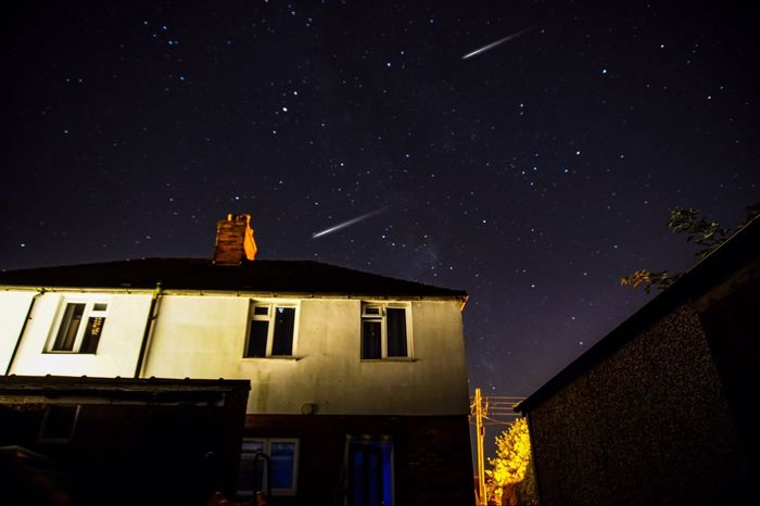 Last nights meteor shower! Night Architecture Building Exterior Built Structure Low Angle View No People Star - Space Window Sky Outdoors Astronomy Nature Starry Beauty In Nature Galaxy Meteorshower EyeEm Gallery The Week On EyeEm EyeEm Best Shots Space Exploration