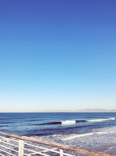 Hermosa California Sea Horizon Over Water Water Beach Copy Space Clear Sky Blue Wave Nature Sky Scenics Tranquil Scene Beauty In Nature Outdoors Day Sand
