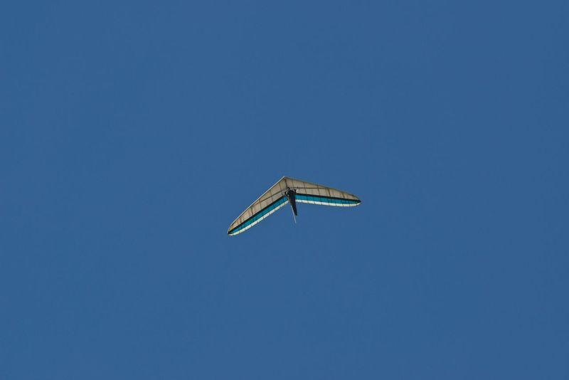 Hanggliding Hanggliding Blue Clear Sky Copy Space Day Flying Hangglider Low Angle View Nature No People Outdoors Sky