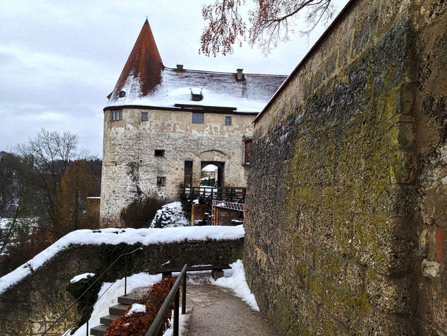 Architecture Building Exterior Castle History Medieval Outdoors Snow Winter