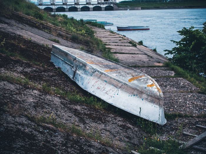High angle view of abandoned boat on river