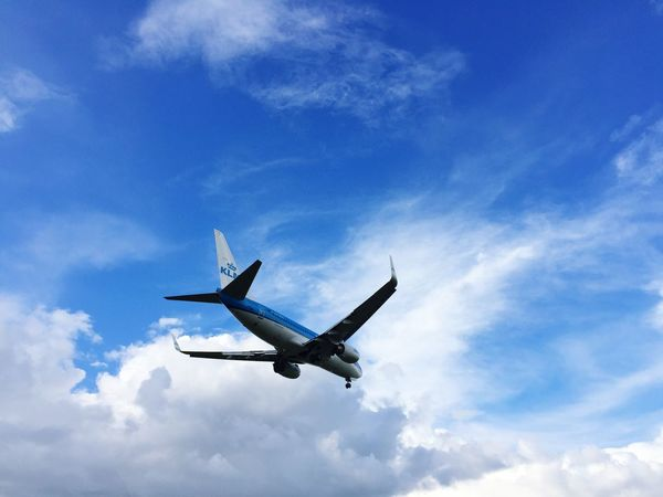 Breathing Space KLM Amsterdam Sky Cloud - Sky Flying Airplane Air Vehicle No People Outdoors Day Nature Transportation Low Angle View