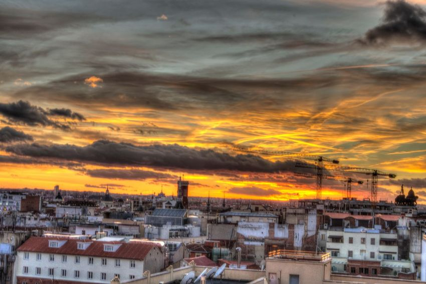 Set the sky on fire Sunset Building Exterior Architecture Cityscape Outdoors Cloud - Sky Sky City Built Structure City Travel Destinations HDR Hdr_Collection Madrid View Sunset_collection Cityscape
