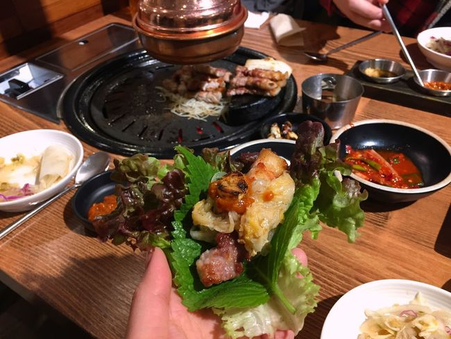 Korean bbq;) Wrapped Korean BBQ Pork Grilled Food Korean Food Human Hand Human Body Part Food And Drink Food Ready-to-eat Plate Table Freshness Healthy Eating Close-up Food Stories