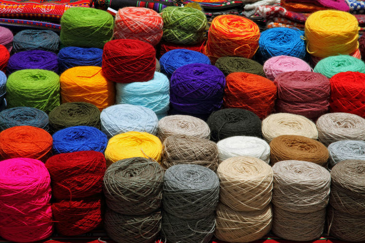 Colorful Balls Of Wools In Market Stall